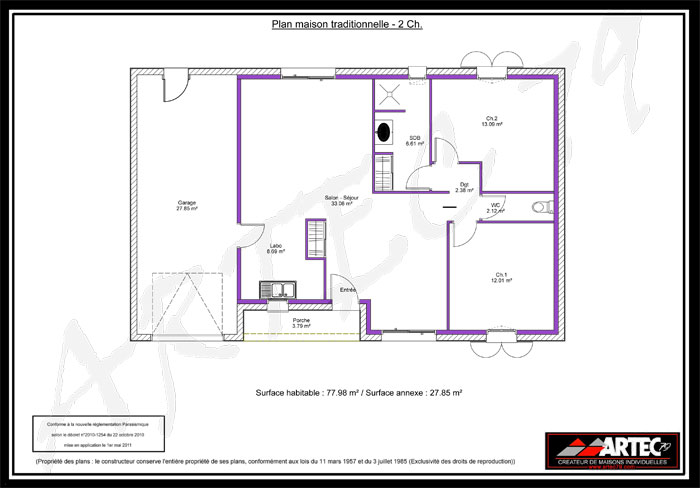 constructeur maison 2 chambres