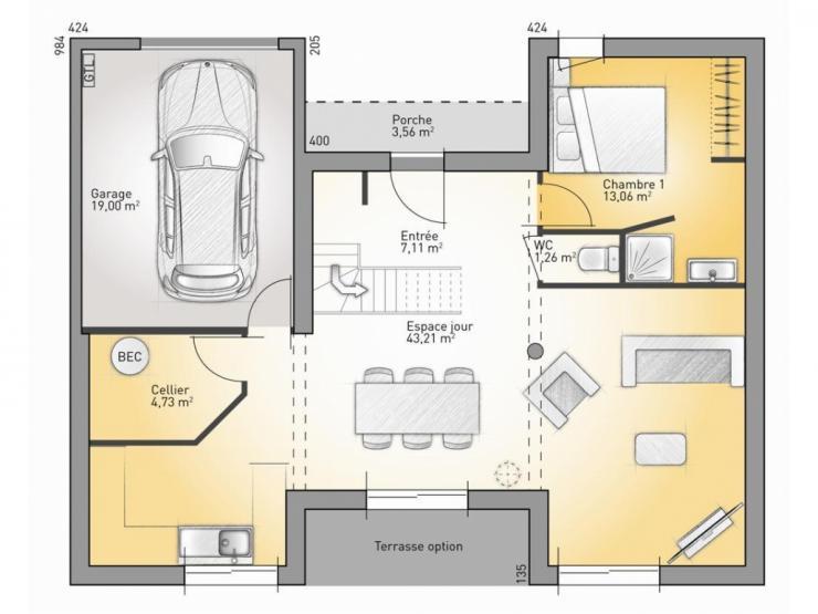 maison etage 130m2. Black Bedroom Furniture Sets. Home Design Ideas