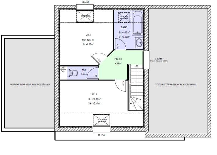 maison etage 2 chambres