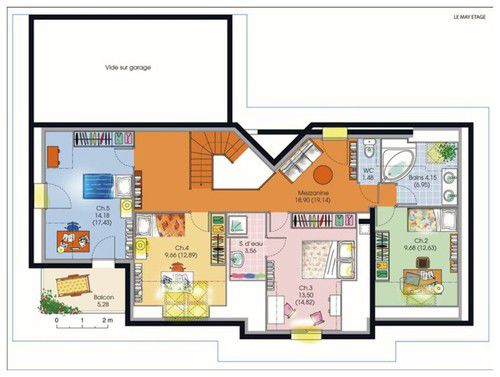 plan amenagement maison 200 m2
