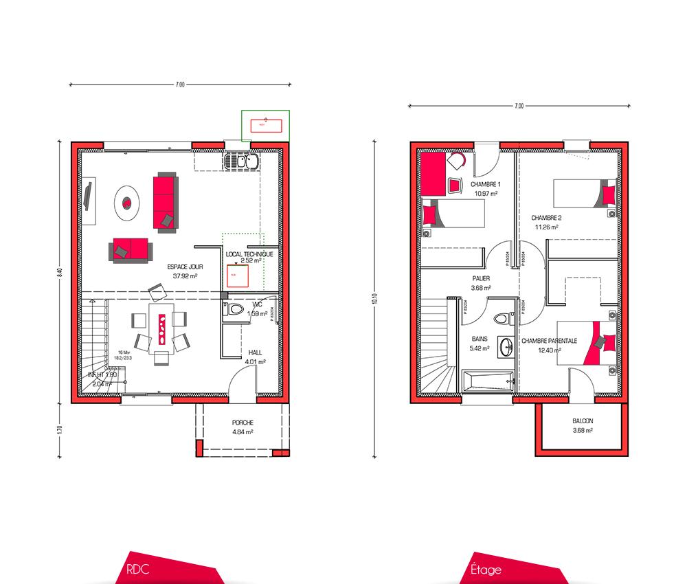 Maison etage 3 chambres - Plan maison 3 chambres etage ...