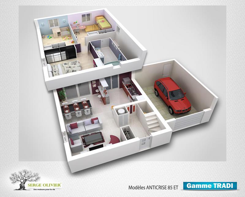plan de maison 3 chambres a etage