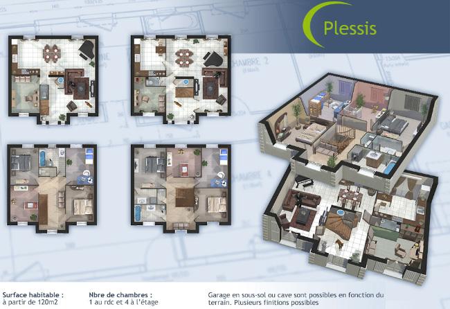 maison etage 3d