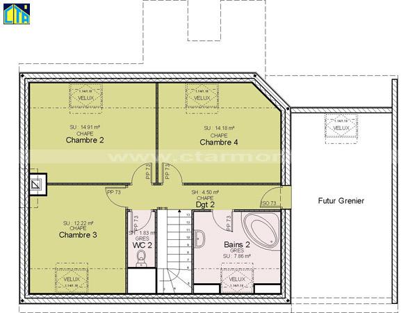 Maison Etage Chambres - Plan etage 4 chambres
