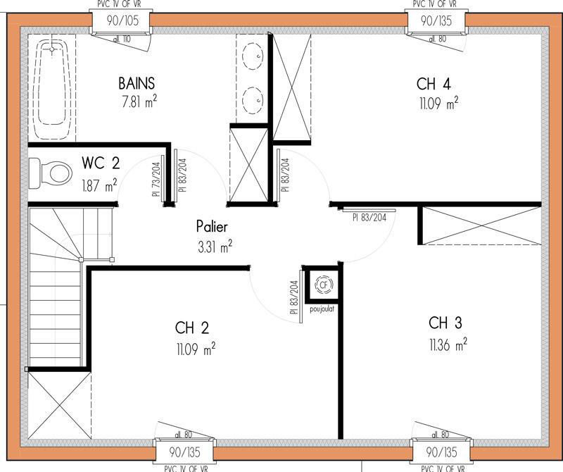 plan de maison à étage 4 chambres