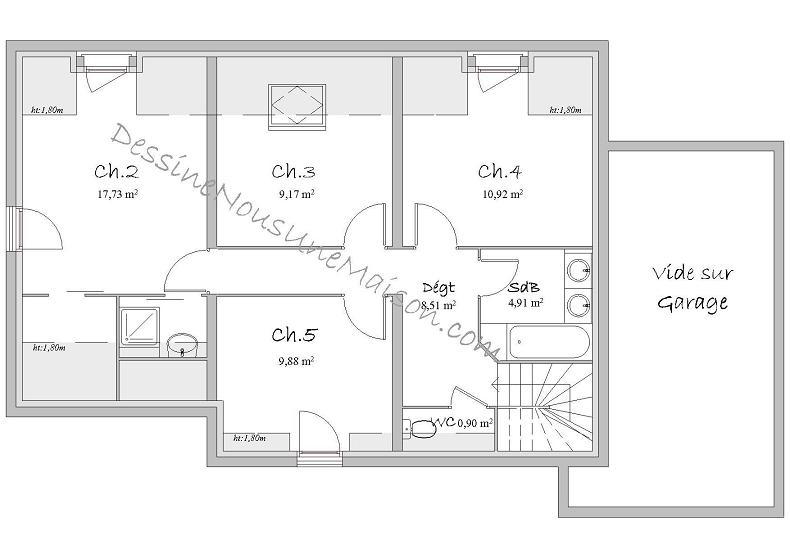 plan de maison a etage 5 chambres