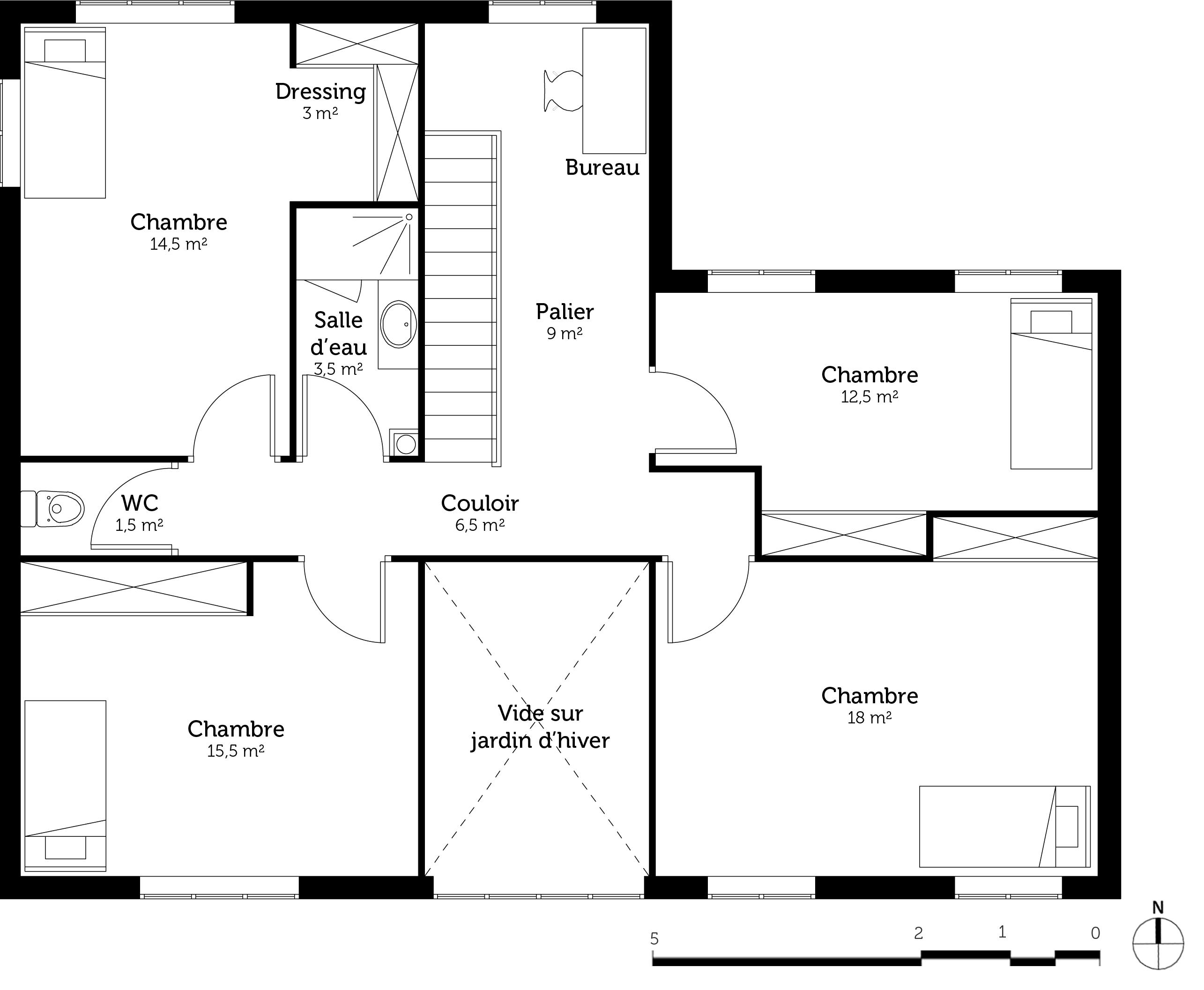 Maison etage 5 chambres - Plan maison 5 chambres gratuit ...