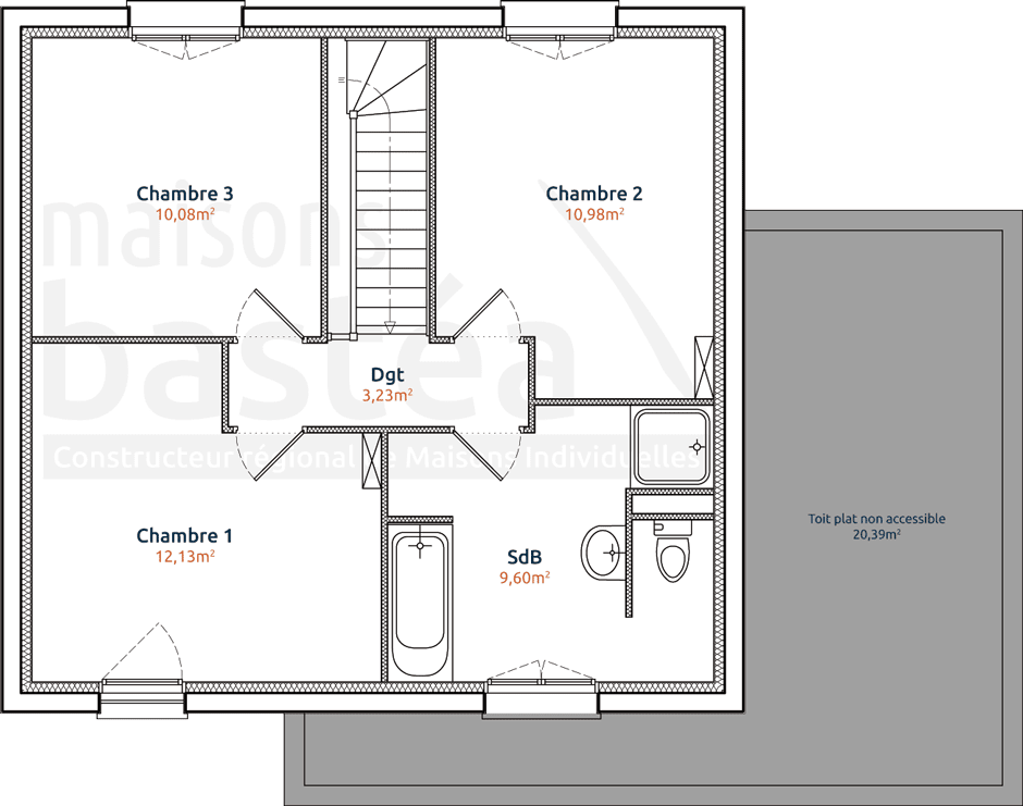 maison etage 80m2. Black Bedroom Furniture Sets. Home Design Ideas