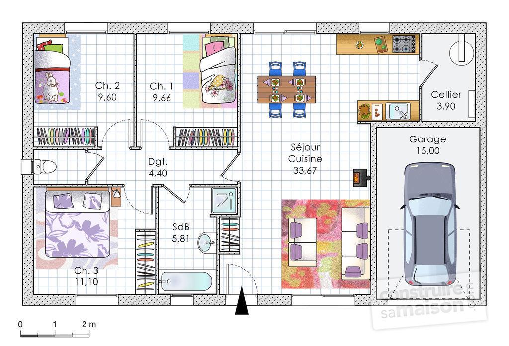 maison etage 85m2