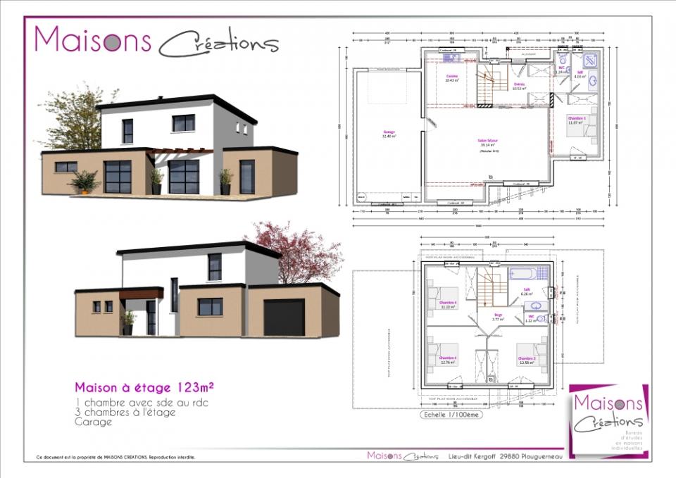 plan de maison à étage avec garage