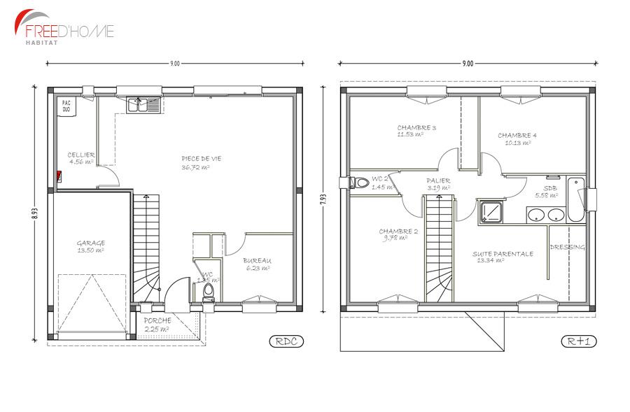maison etage avec plan