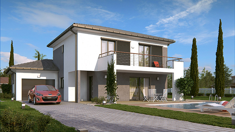 maison etage balcon