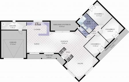 plan de maison en v ouvert