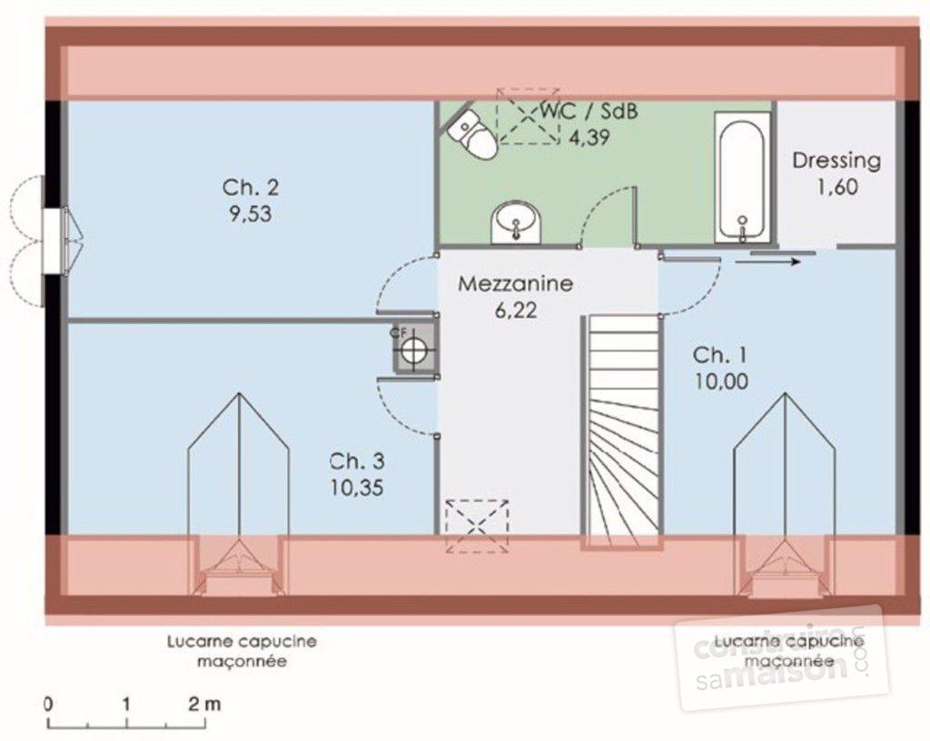 maison etage mansarde. Black Bedroom Furniture Sets. Home Design Ideas