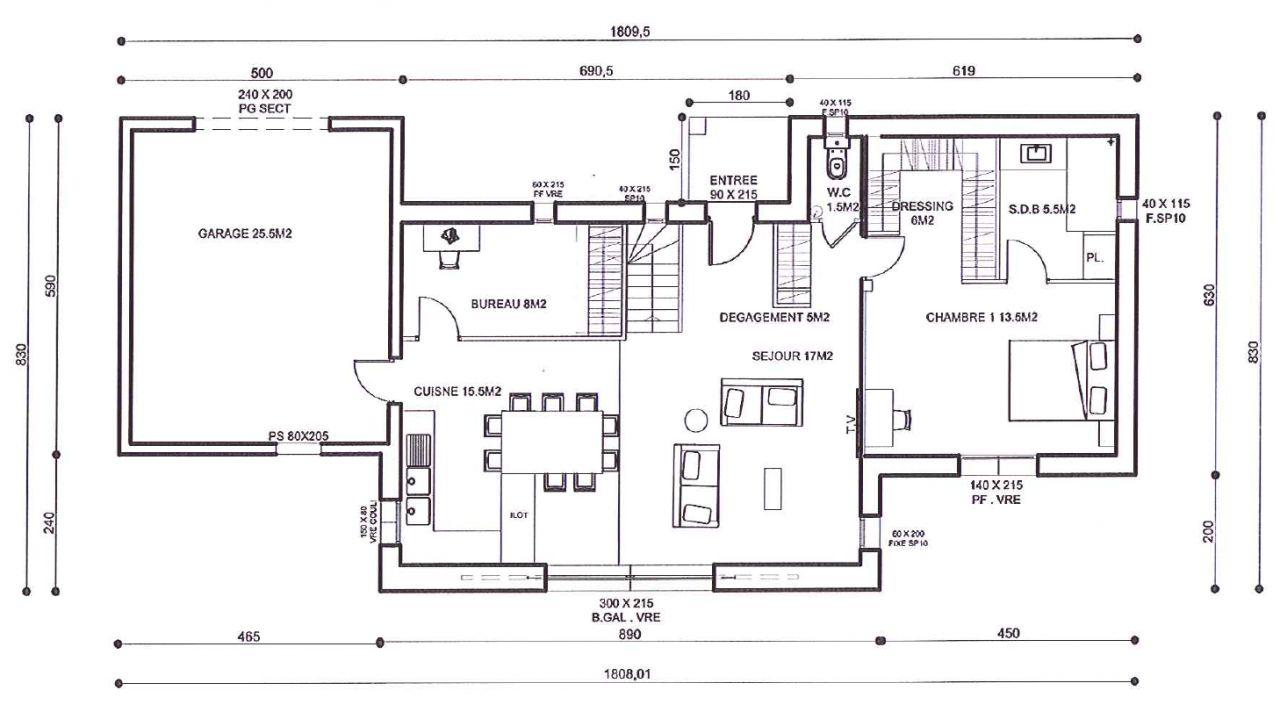 maison etage partiel plan. Black Bedroom Furniture Sets. Home Design Ideas