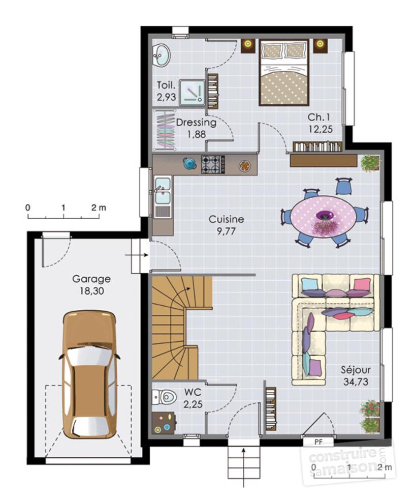 Maison etage sans garage - Plan etage 4 chambres ...