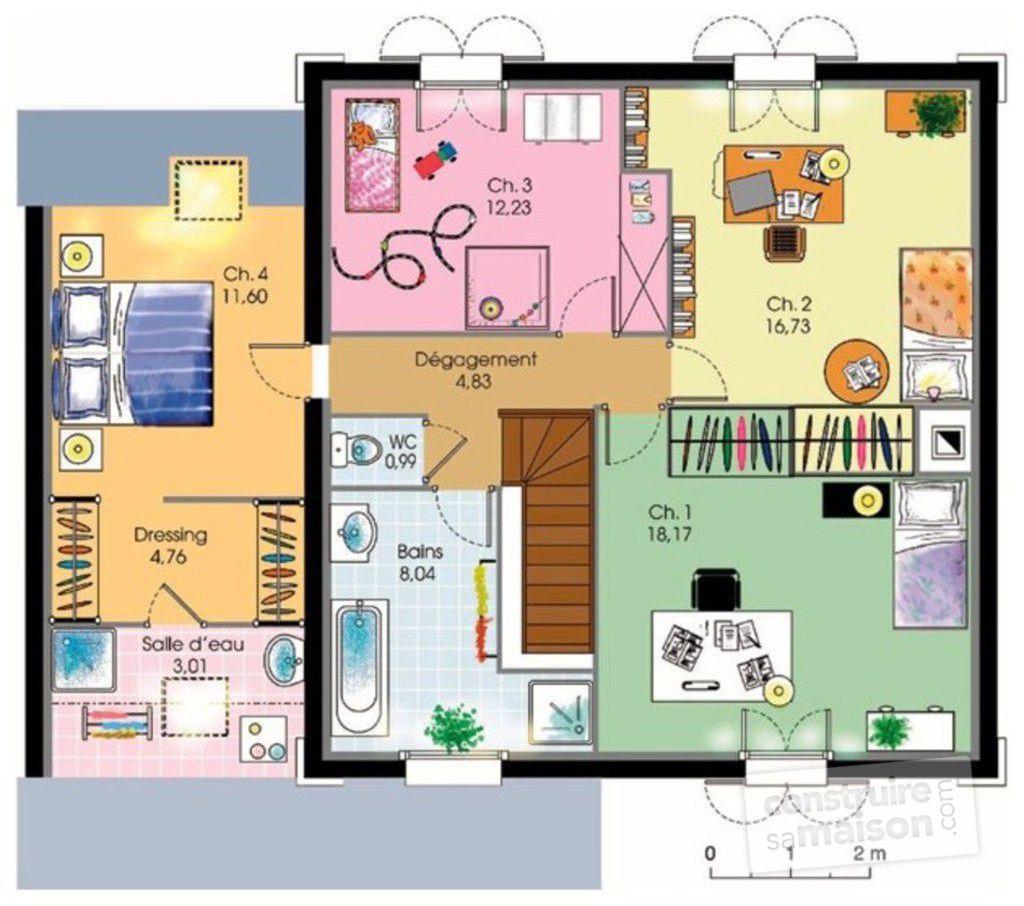 Plan maison 4 chambres etage suite parentale