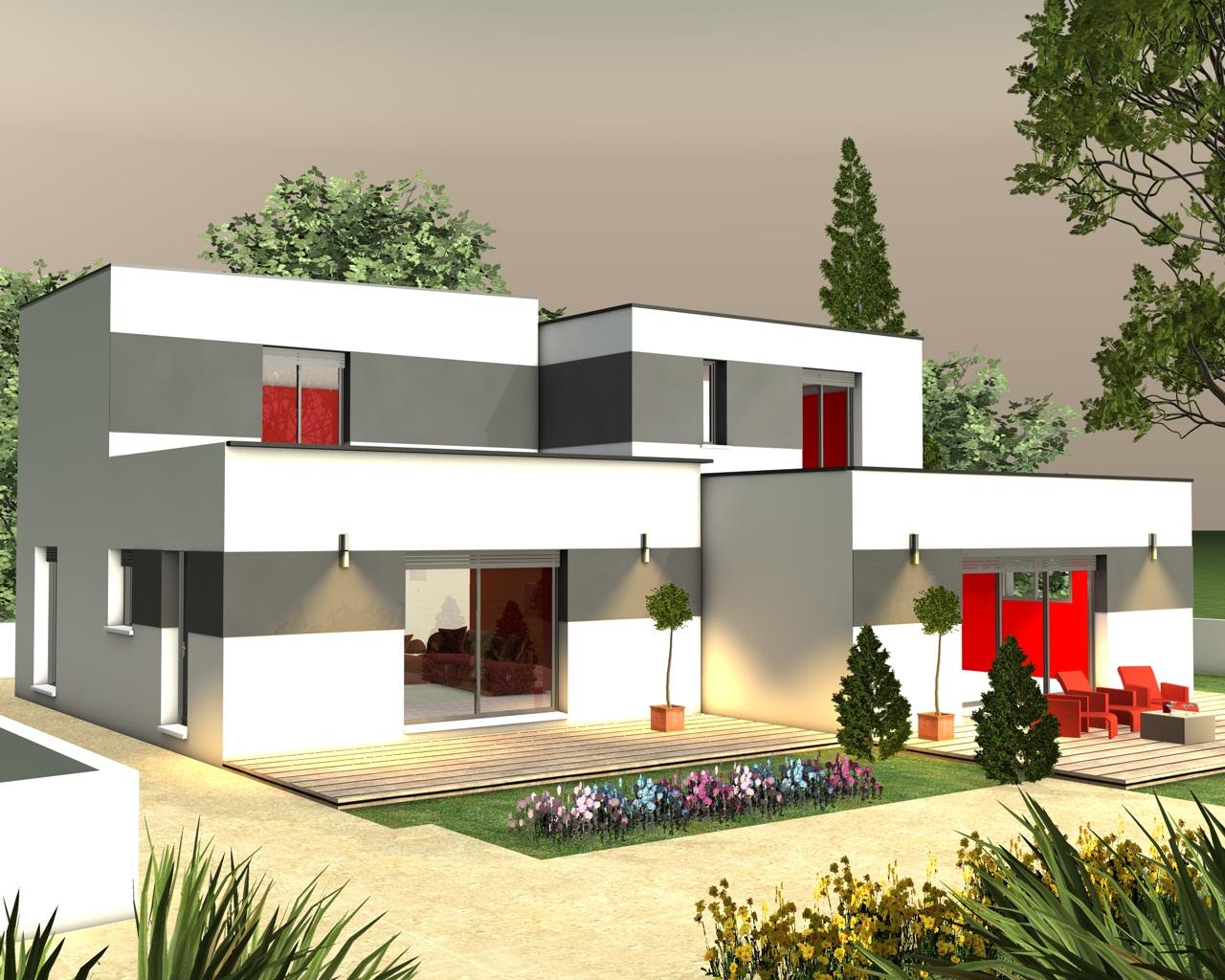 Maison etage toit terrasse for Plan de maison toit terrasse