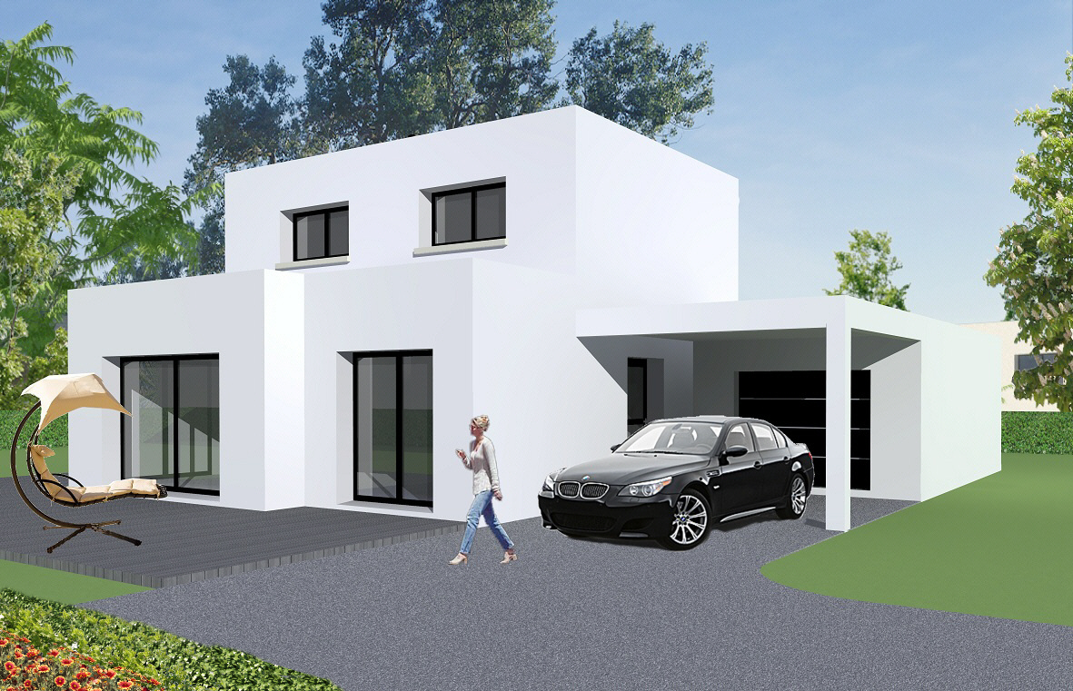 Maison moderne 100m2 for Plan maison contemporaine 100m2