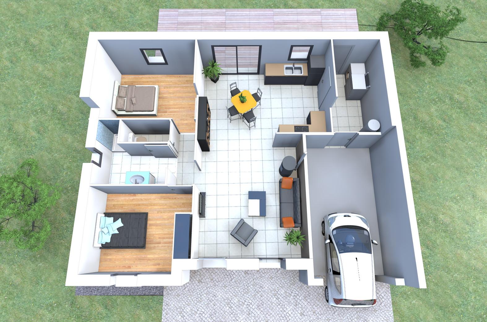 maison moderne 2 chambres