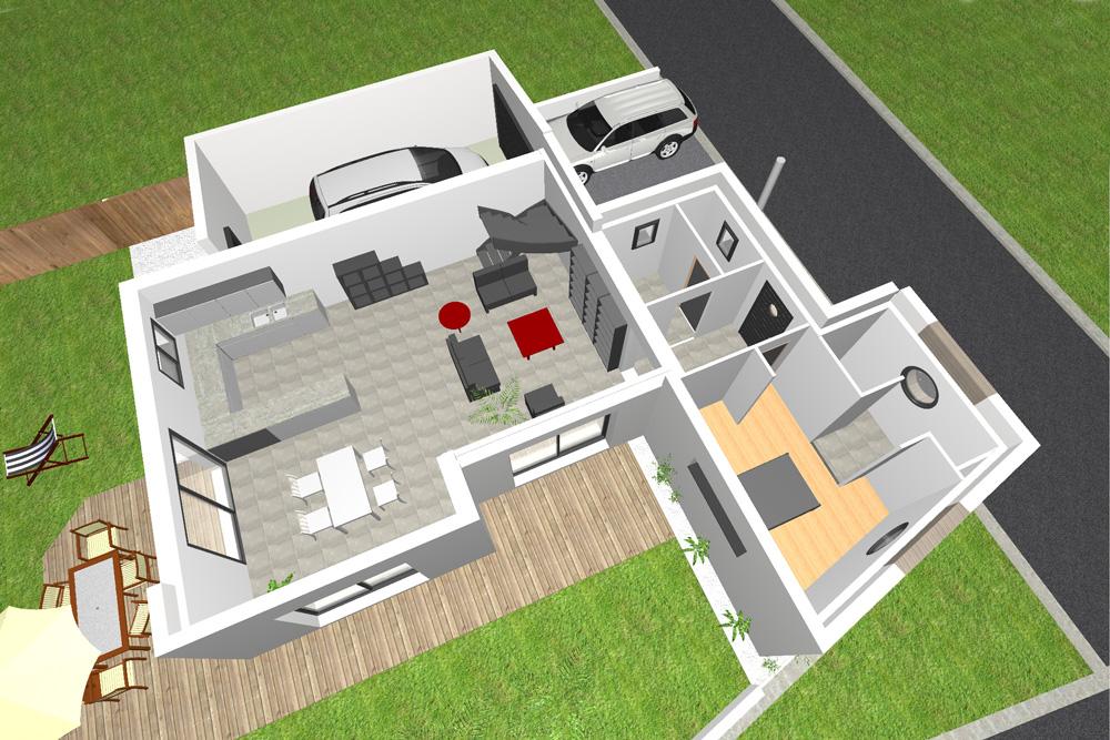 Maison Moderne Chambres - Plan maison moderne 3 chambres