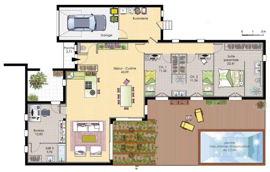 Maison moderne 4 chambres plain pied - Modele plan maison plain pied gratuit ...