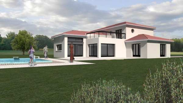Maison moderne avec toit - Maison contemporaine toit 4 pentes ...
