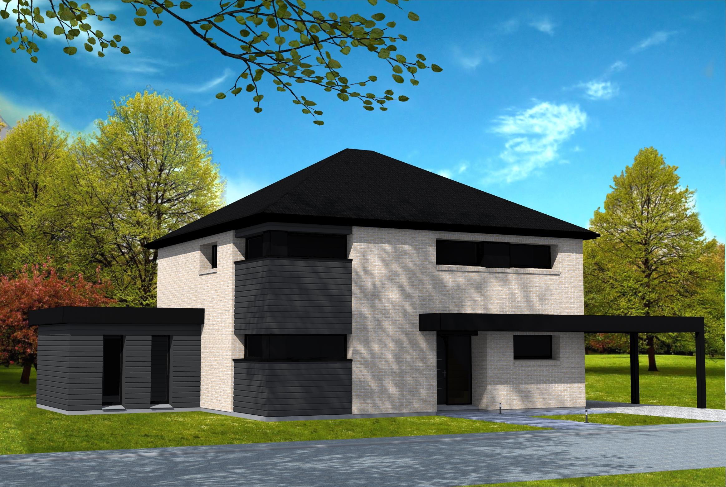 maison moderne brique grise
