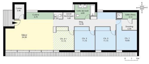 plan de maison tout en longueur