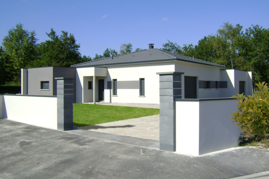 Awesome Maison Moderne Gris Blanc Contemporary - House Design ...