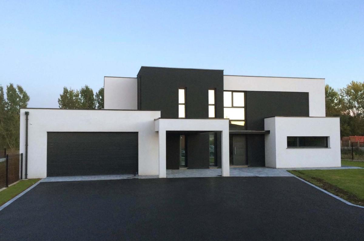 Maison moderne forme cubique - Plan de maison sans toit ...