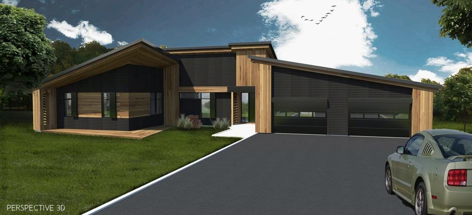 Maison moderne garage double for Maison avec garage double