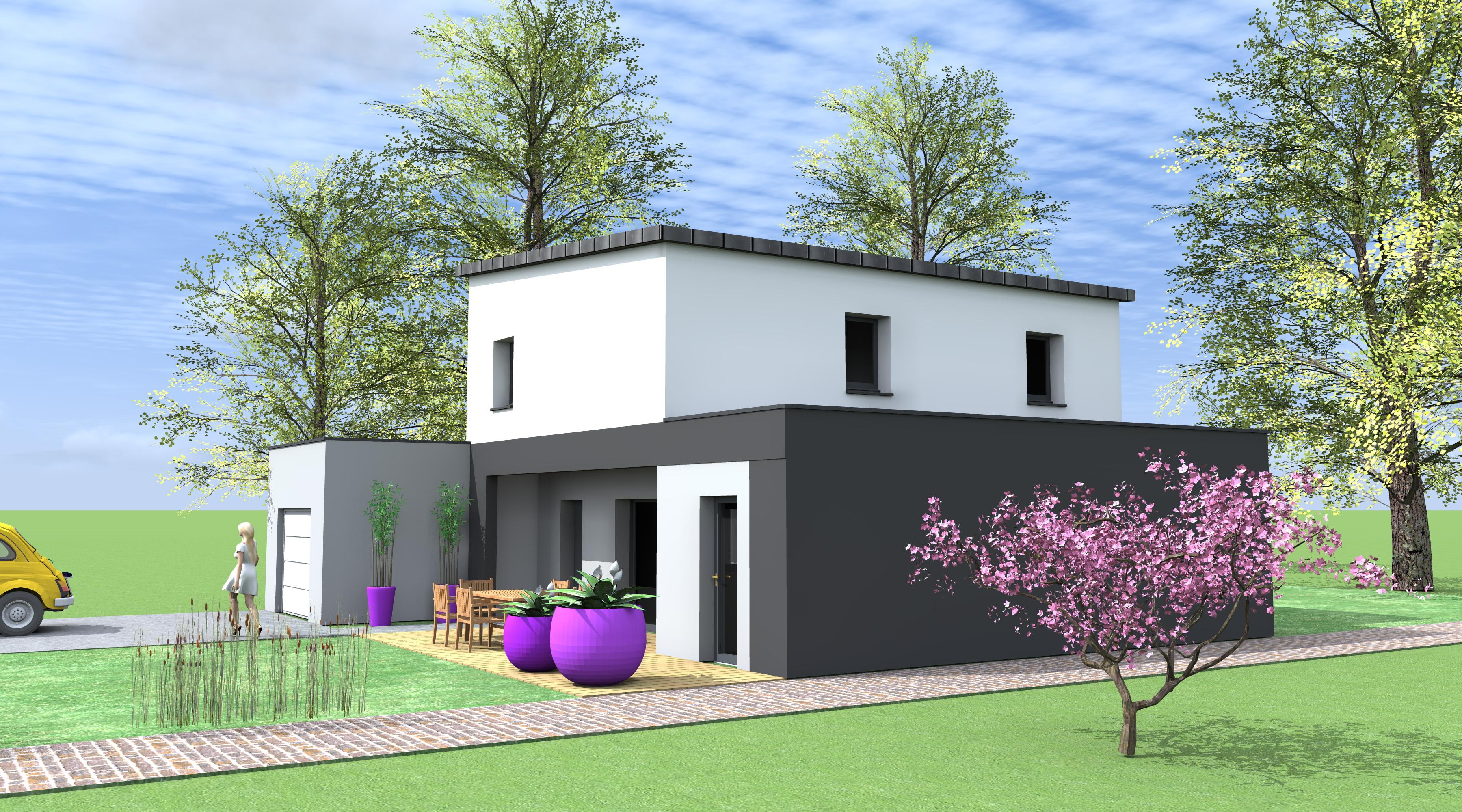 Maison moderne gris et blanc for Interieur maison gris
