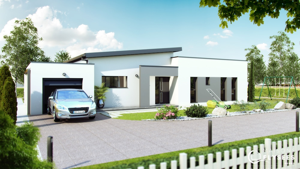 Maison moderne monopente - Maison plain pied toit monopente ...
