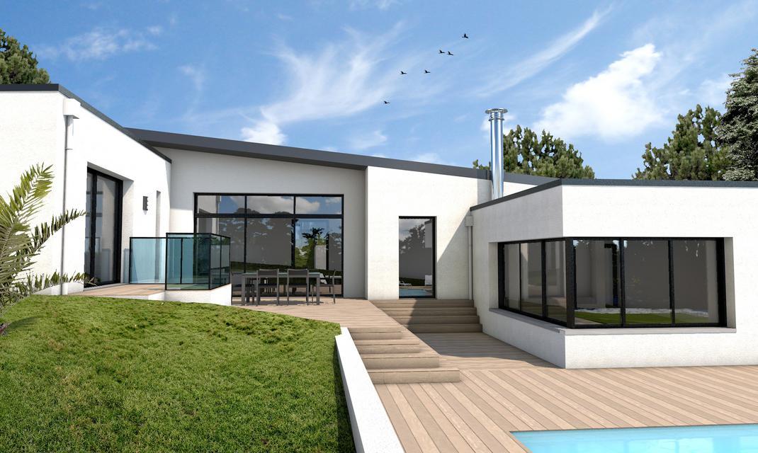 Maison moderne plain pied - Plan maison plein pied moderne ...