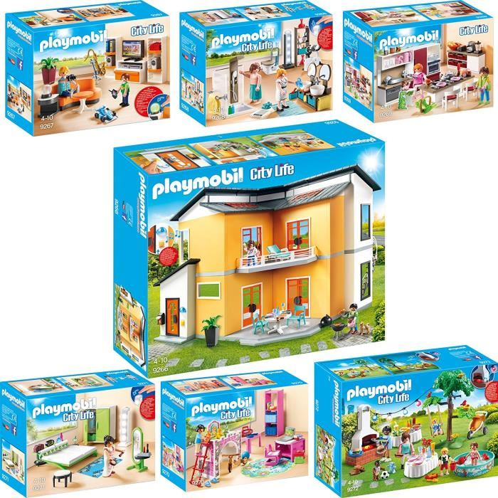 maison moderne playmobil 9266. Black Bedroom Furniture Sets. Home Design Ideas