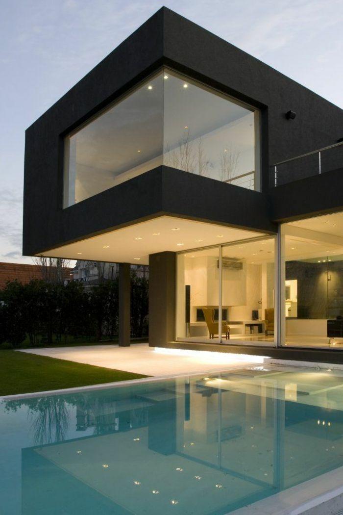maison moderne rectangulaire. Black Bedroom Furniture Sets. Home Design Ideas