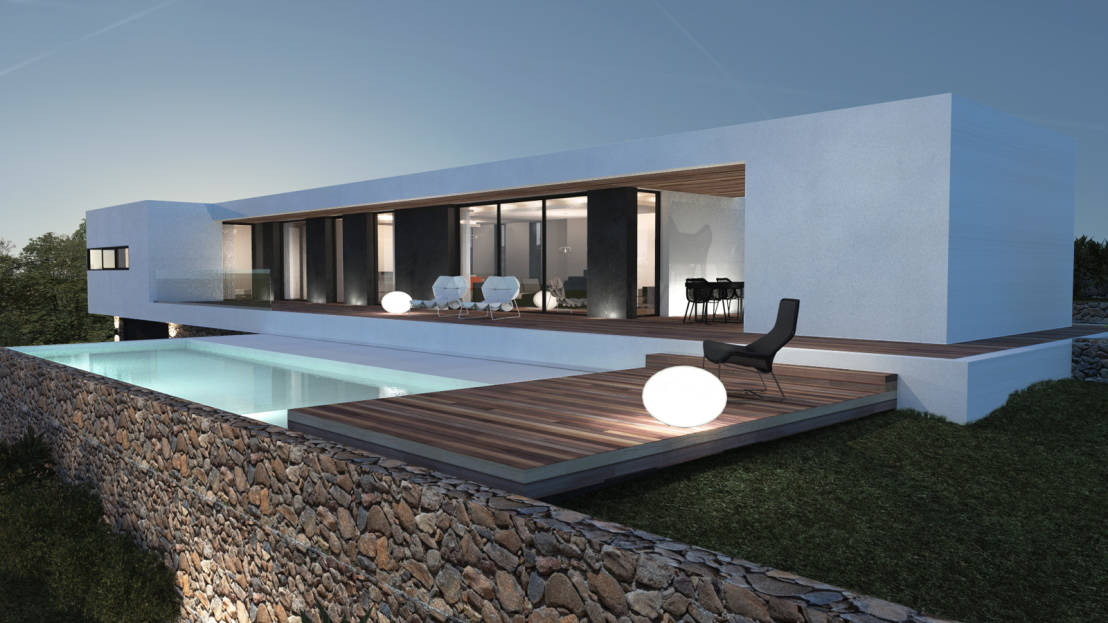 maison moderne rectangulaire