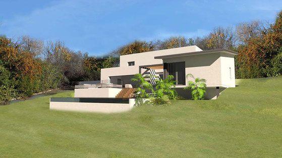 maison moderne sur terrain en pente. Black Bedroom Furniture Sets. Home Design Ideas