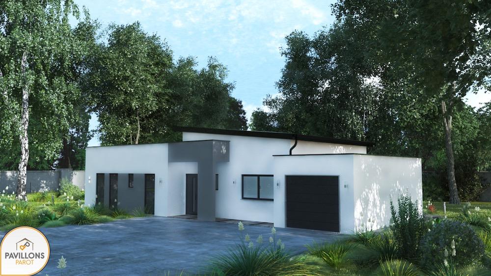 Maison moderne toit 1 pente - Maison plain pied toit monopente ...