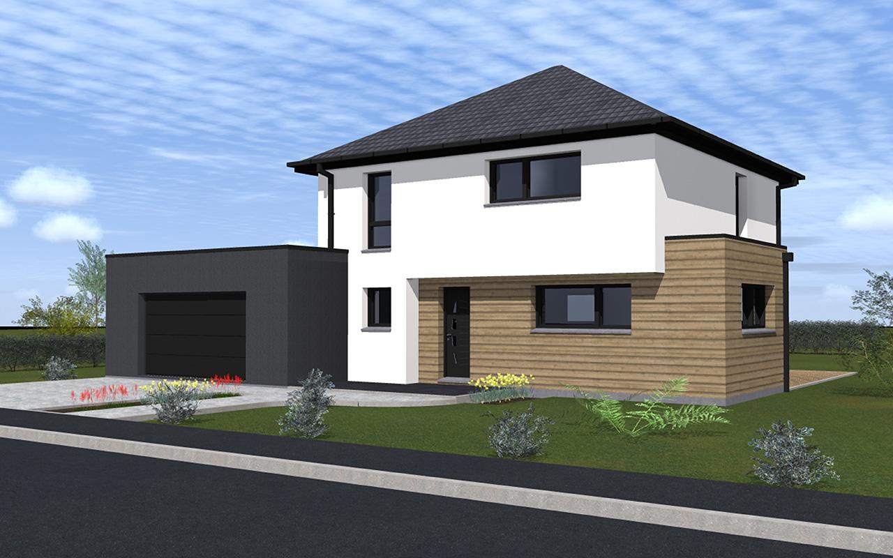 maison moderne toit 4 pentes. Black Bedroom Furniture Sets. Home Design Ideas