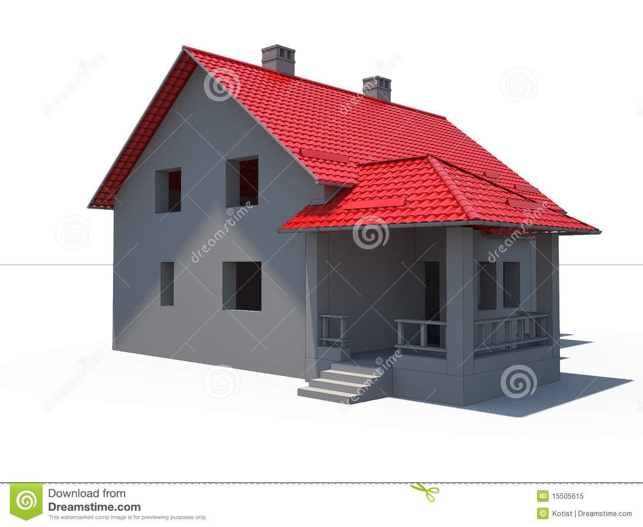 maison moderne toit rouge