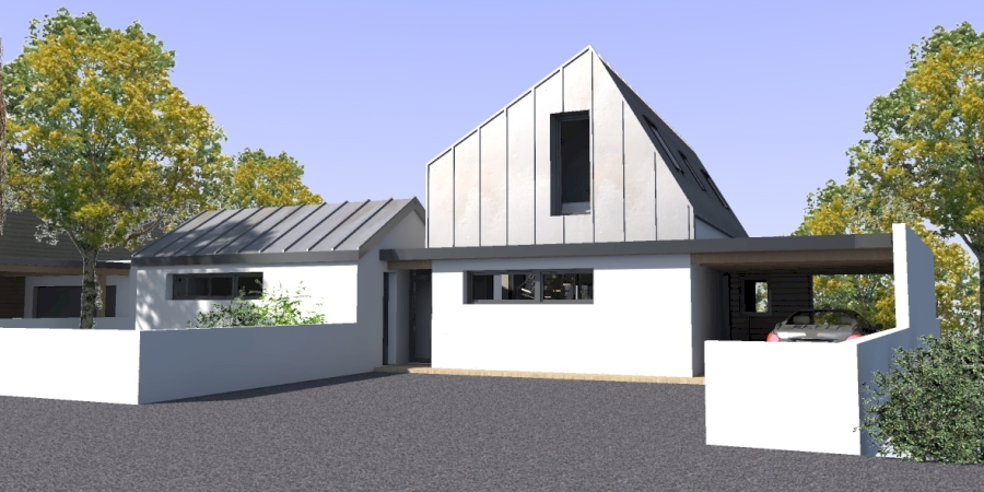 maison moderne toit zinc. Black Bedroom Furniture Sets. Home Design Ideas
