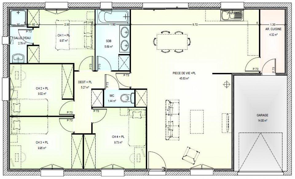 maison plain pied 120m2 4 chambres