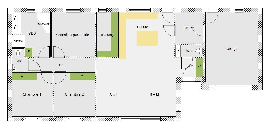 maison plain pied 130 m2. Black Bedroom Furniture Sets. Home Design Ideas