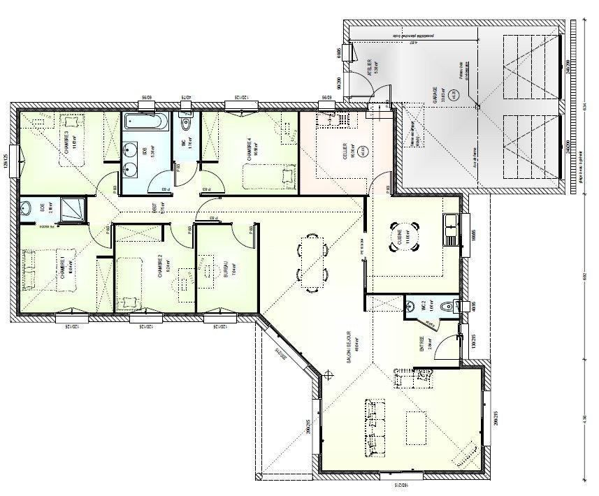 Maison plain pied 180m2 - Plan maison plain pied 120m2 ...