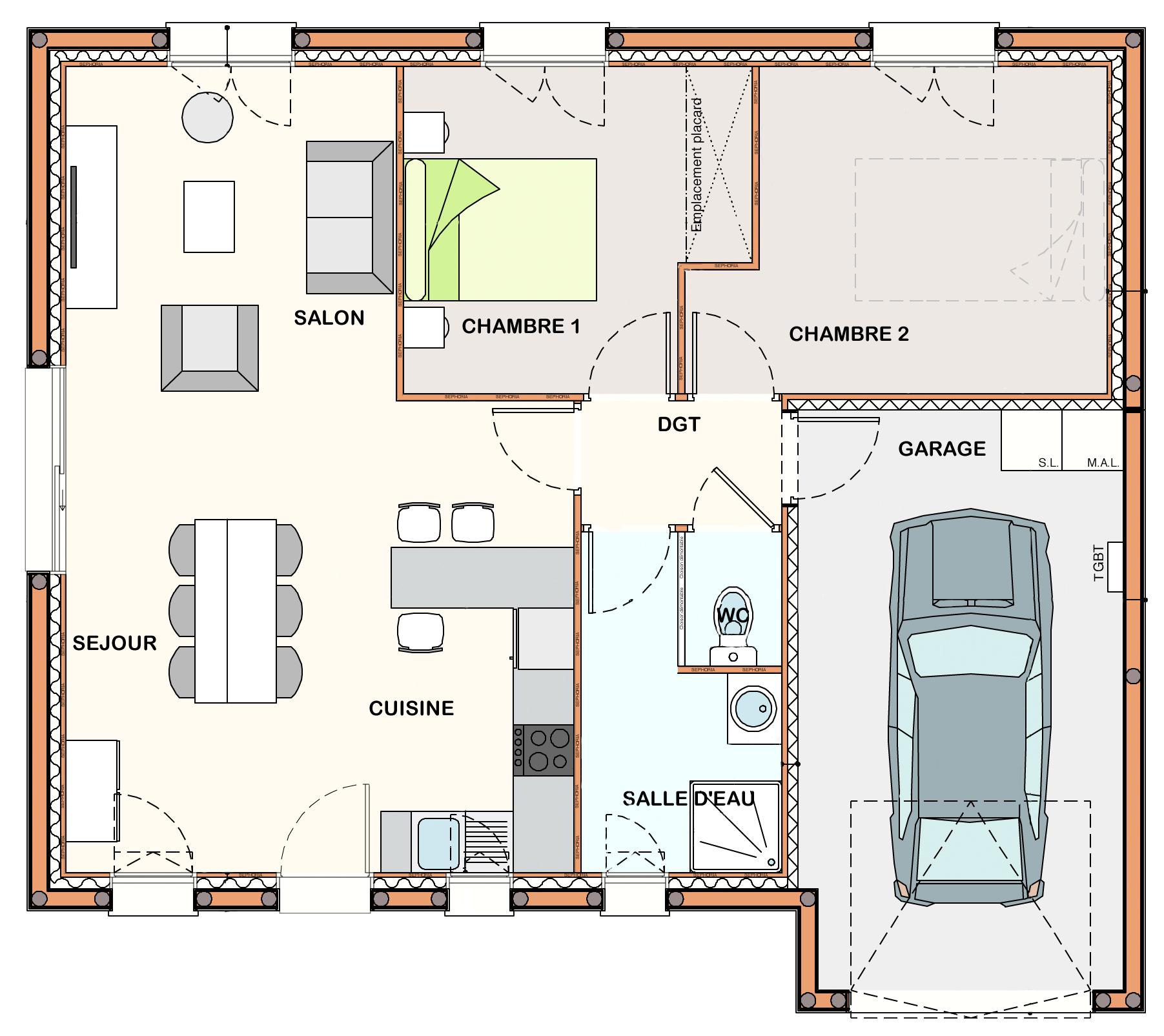 plan de maison 2 chambres plain pied