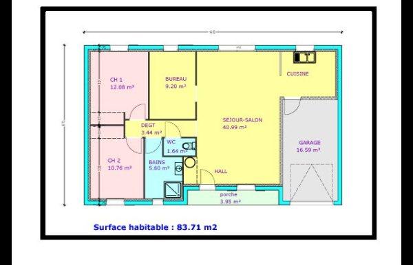 plan de maison 2 chambres avec garage
