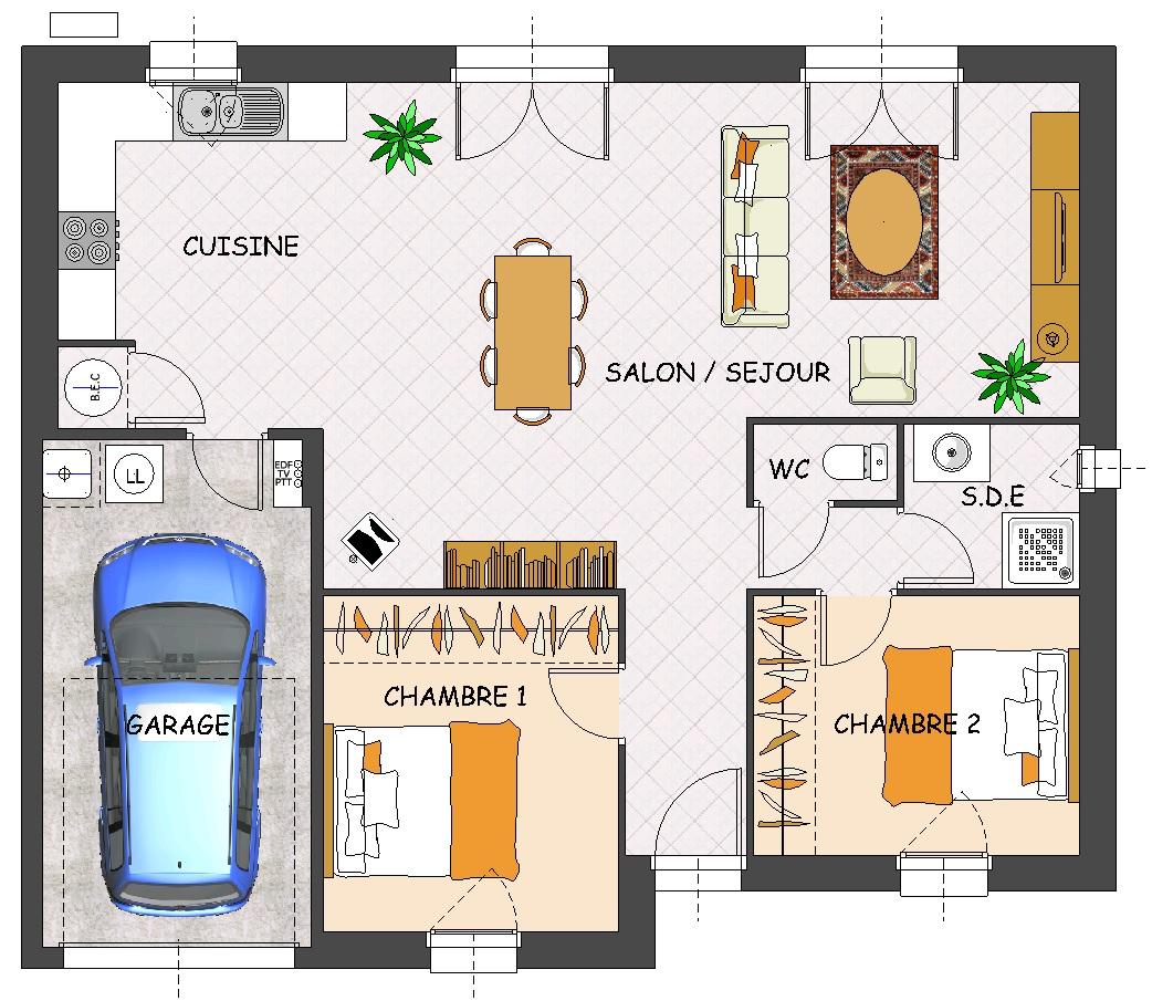 maison plain pied 2 chambres garage