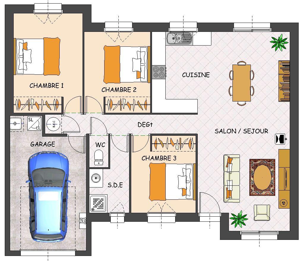 Maison plain pied 3 chambres avec garage - Plans maisons plain pied 3 chambres ...